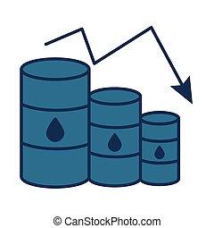 flèche, huile, barils, diminuer, essence, style, prix, remplir