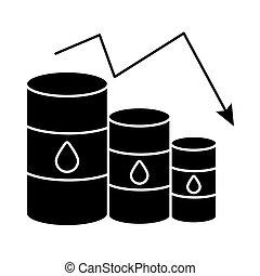 flèche, huile, barils, plat, diminuer, essence, style, prix