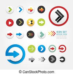 flèche, icônes, conception, ensemble, /, boîte, être,...