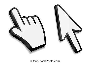 flèche, illustration, main, vecteur, curseurs, souris
