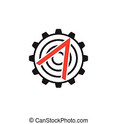 flèche, industriel, vecteur, dent, logo, machine