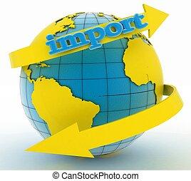 flèche, la terre, importation, autour de