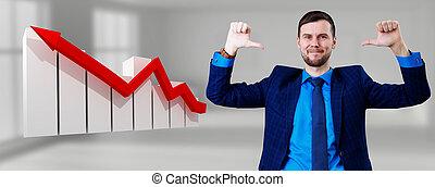 flèche, lui-même, pointage, icône, rouges, bas., homme affaires
