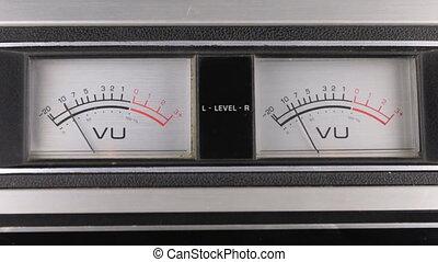 flèche, panel., vieux, indicateur, recorder., analogue, stéréo, indicateurs, bande, close-up.