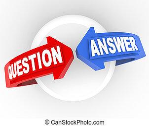 flèche, question, solution, mots, réponse, problème