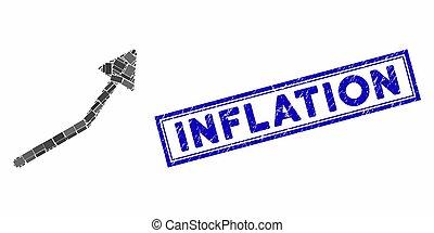 flèche, rectangle, détresse, inflation, positif, collage, cachet, tendance