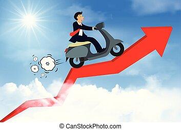 flèche rouge, aller, startup., équitation, vecteur, créatif, business, leadership., motocyclette, vue, homme affaires, but, nuage, course, idea., ultimate, success., sky., haut, illustration