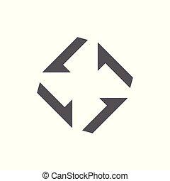 flèche, vecteur, turbine, logo, carrée