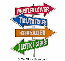flèche, whistleblower, illustration, mots, signes, 3d