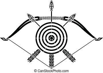 flèches, arc