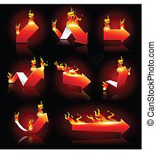 flèches, brûler