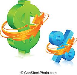 flèches, cent, dollar