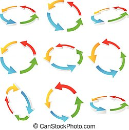 flèches, circulaire, coloré