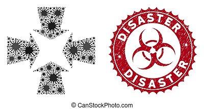 flèches, collage, coronavirus, rétrécir, détresse, cachet, ...