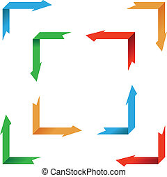 flèches, -, collection, vecteur, perspective, illustrations