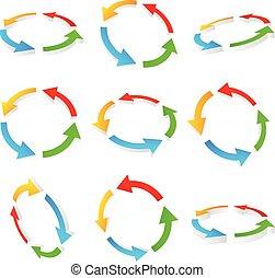 flèches, coloré, circulaire