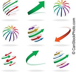 flèches, coloré, icônes