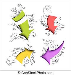 flèches, coloré