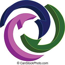 flèches, connecter, autour de, logo