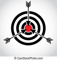 flèches, dans, a, rouges, champ, sur, les, cible, illustration