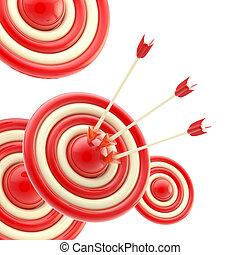 flèches, dans, les, centre, de, les, rouges, cible