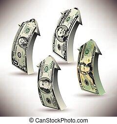 flèches, dollar, argent