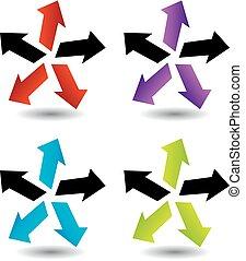 flèches, ensemble, coloré