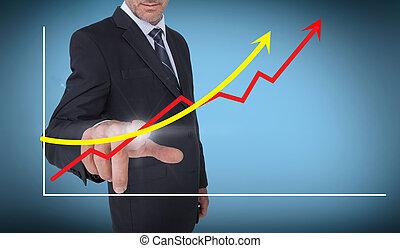 flèches, graphique, choix, homme affaires, haut, pointage