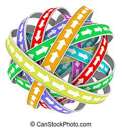 flèches, modèle circulaire, cycle, constante, mouvement, direction