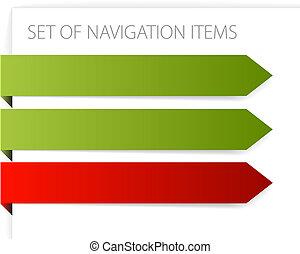 flèches, moderne, -, papier, articles, navigation