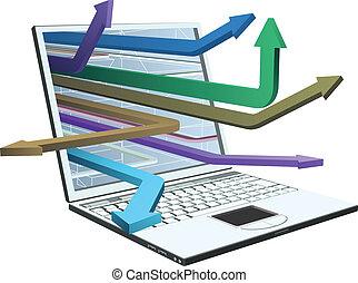 flèches, ordinateur portable, concept, conception