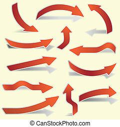 flèches, papier, ensemble, rouges