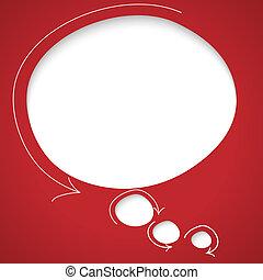 flèches, parole, vecteur, bulle, rouges