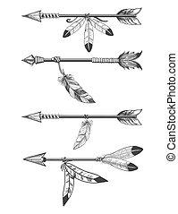flèches, perles, plumes