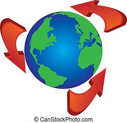 flèches, recycler, autour de, globe