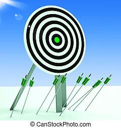 flèches, sur, plancher, projection, pauvre, précision