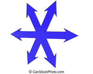 flèches, tout, côtés, bleu
