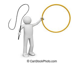 fléau, anneau, et, entraîneur, dans, cirque, -,...