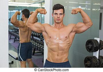 fléchir, musculaire, sans chemise, gymnase, homme, muscles