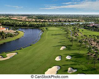 flórida, campo golfe, flyover, aéreo