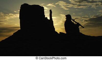 flûte, américain, vallée monument, jouer, levers de soleil,...