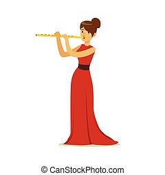 flûte, classique, habillé, musicien, illustration, vecteur,...