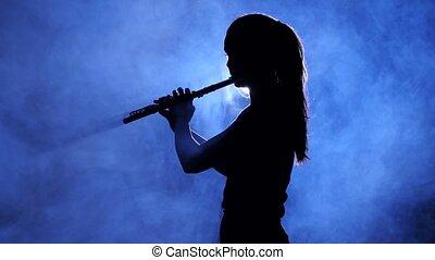 flûte, femme, jeux, enfumé, studio, silhouette, projecteur