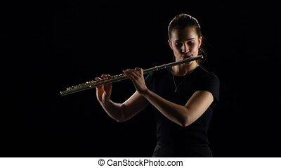 flûte, jeux, femelle noire, melodies., fond, studio, ...