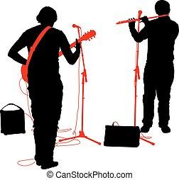 flûte, jeux, Illustration, guitare, silhouettes, vecteur,...