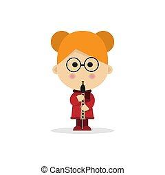 flûte, noël, fond, enfant, blanc, jouer