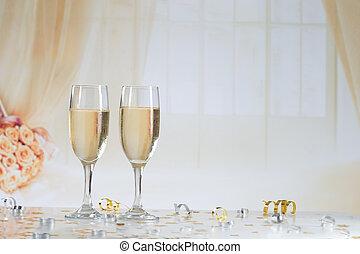 flûtes, deux, champagne