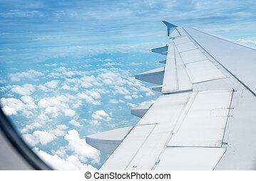 flügel , flugzeug, in, höhe, während, flug
