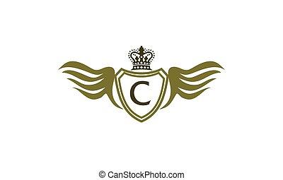 flügel , schutzschirm, krone, abzeichnen, c