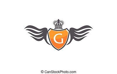 flügel , schutzschirm, krone, abzeichnen, g
